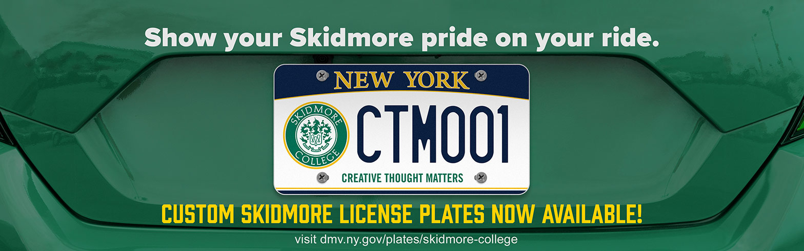 Show your Skidmore Pride with a custom license plate