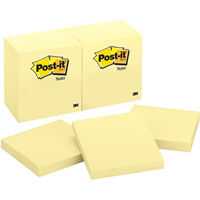 Post It Note 3 x 3 Yellow 4pk