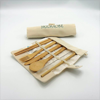 Skidmore Wordmark Bamboo Utensils w/Pouch
